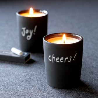 chalk board candles from Sundance