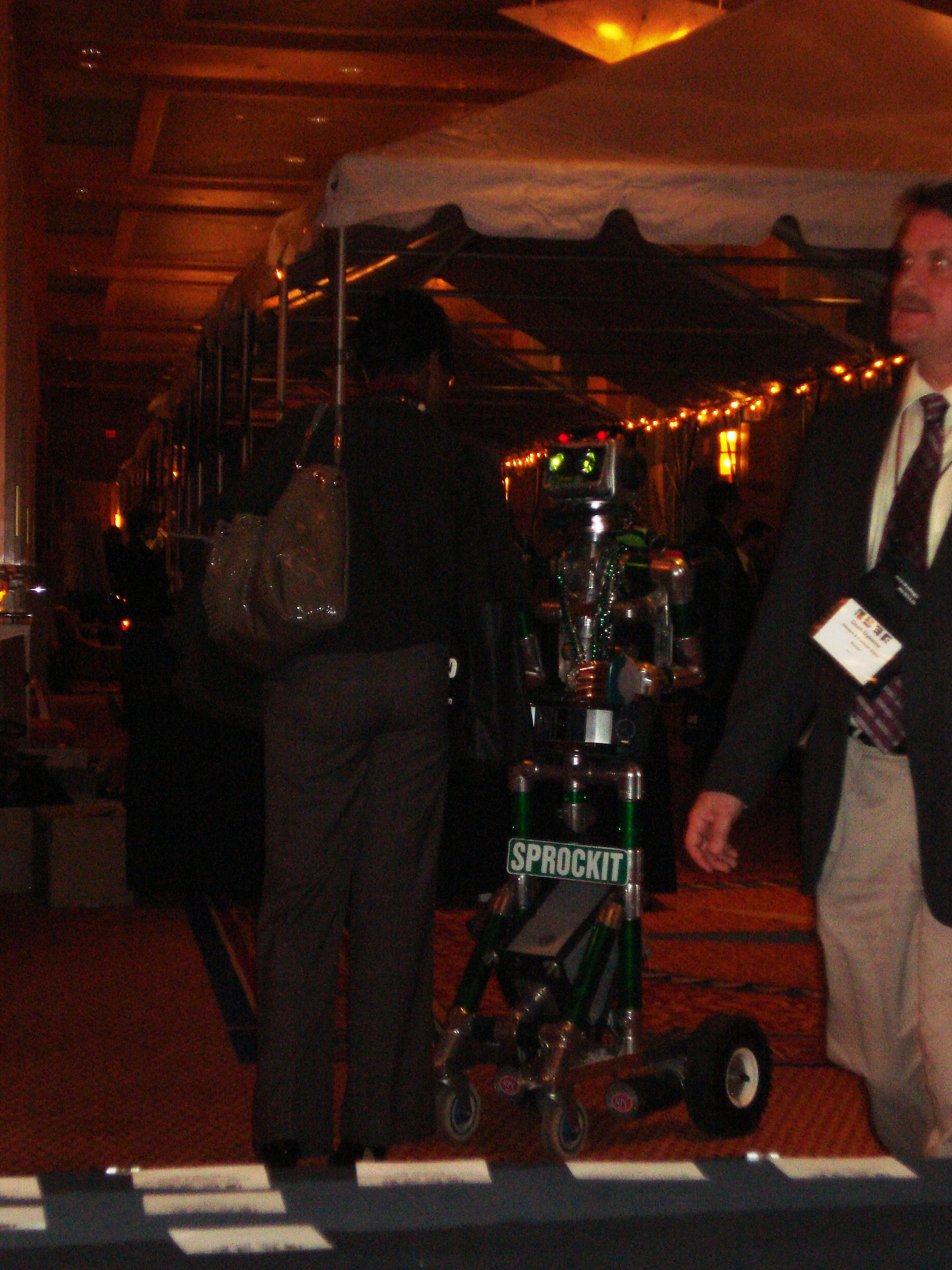 Sprockit the Robot chatting up one of the guests