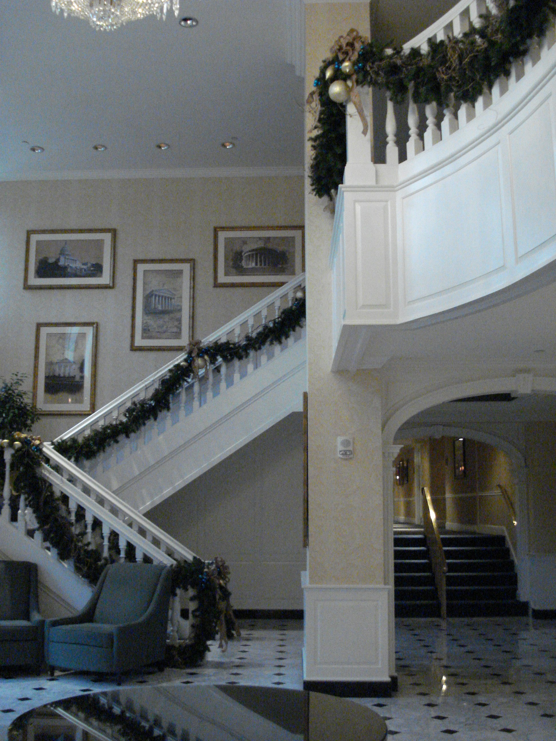 Stairwell leading up to balcony