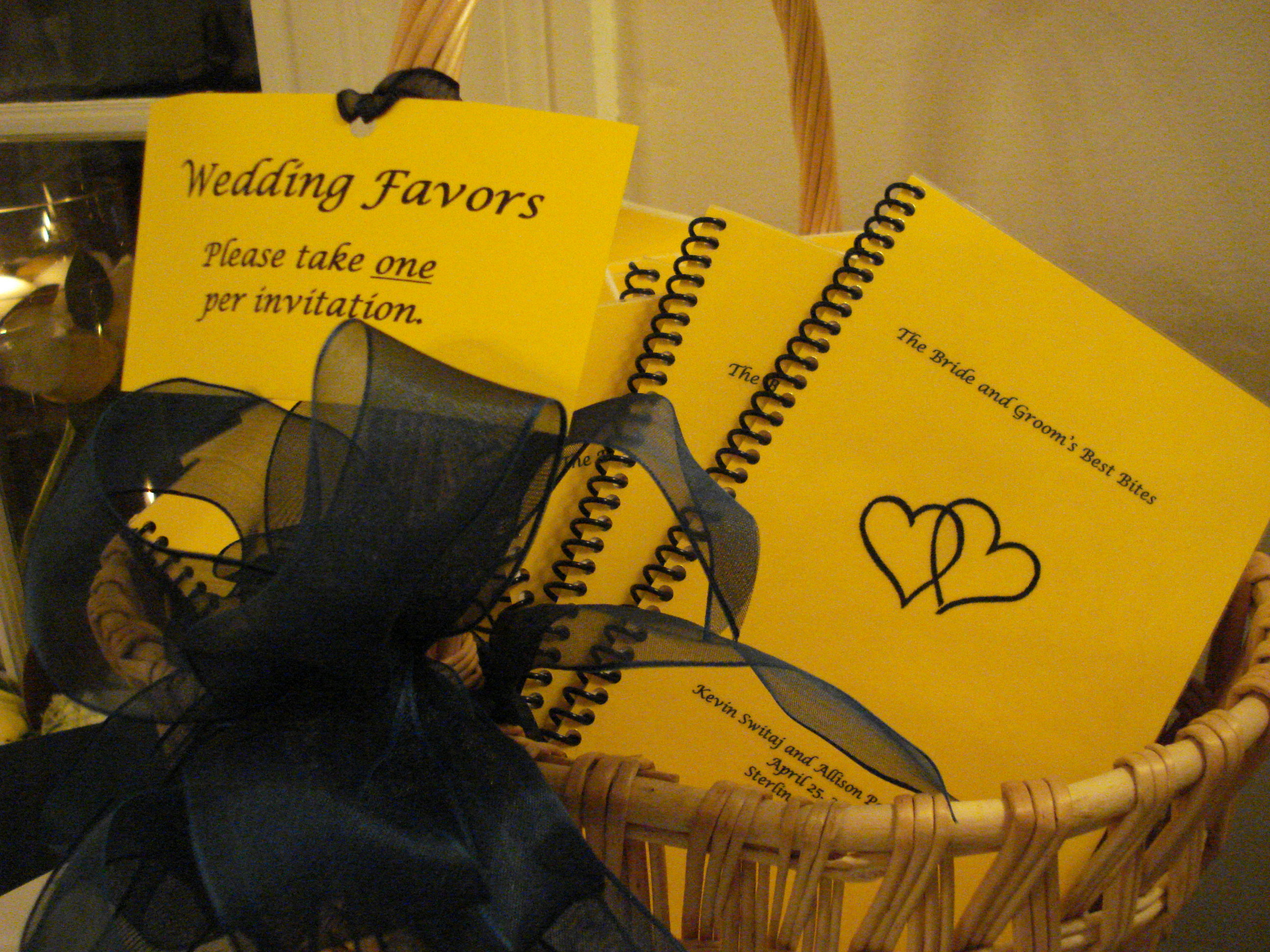 Cookbook wedding favors
