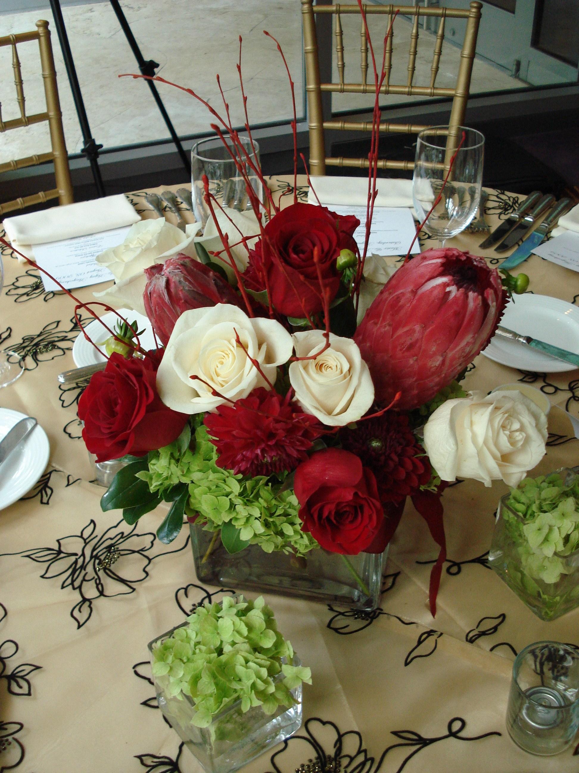 red modern floral centerpiece