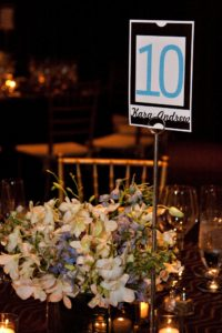 Clarendon Ballroom wedding reception black white blue table number centerpiece