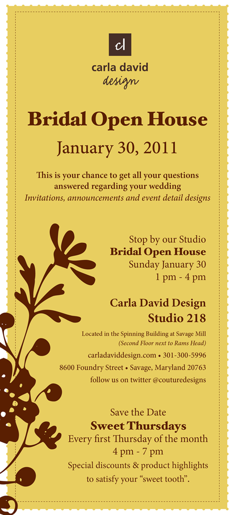 Carla David Designs bridal open house