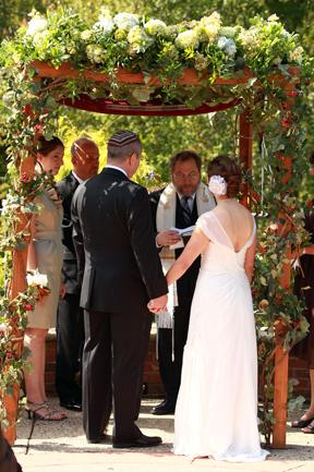 Meadowlark Botanical Gardens Jewish Wedding in the fall under chuppah