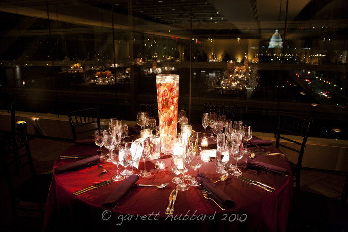Newseum wedding tall modern centerpiece orchids