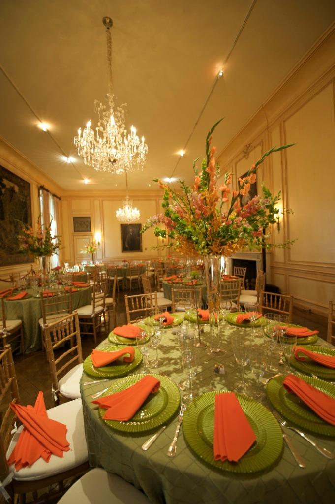 apple green and orange DC wedding Meridian House