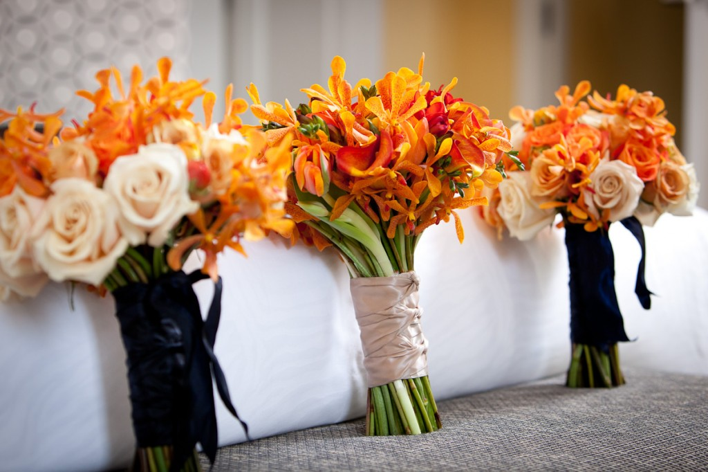 Hotel Monaco DC wedding orange bouquets Petals Edge