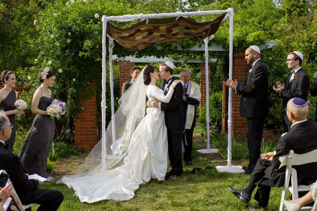 River Farm spring wedding ceremony chuppah