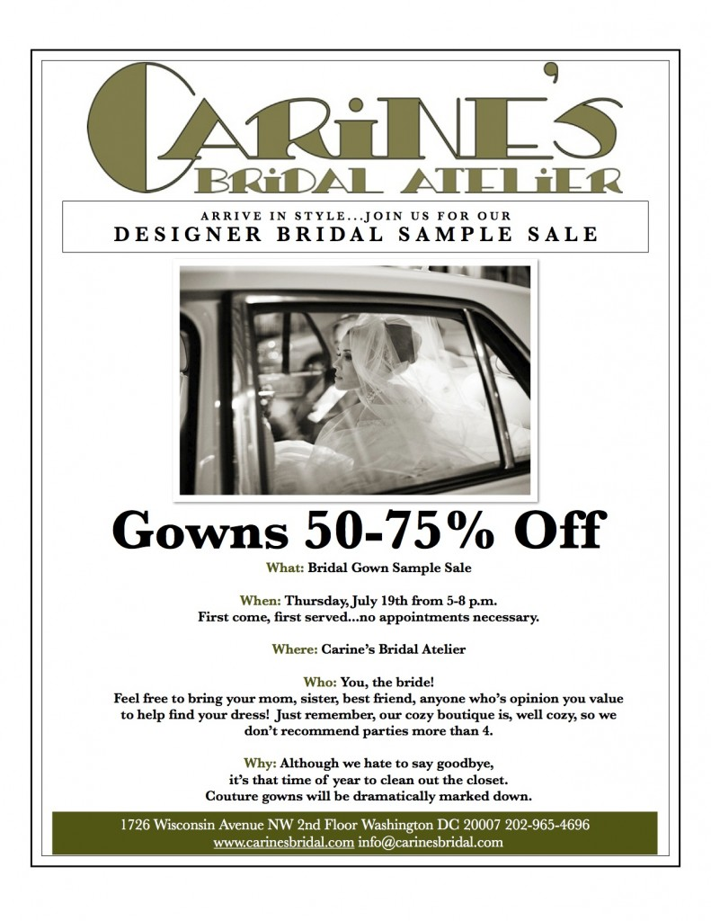 Carine's Bridal Atelier Sample Sale
