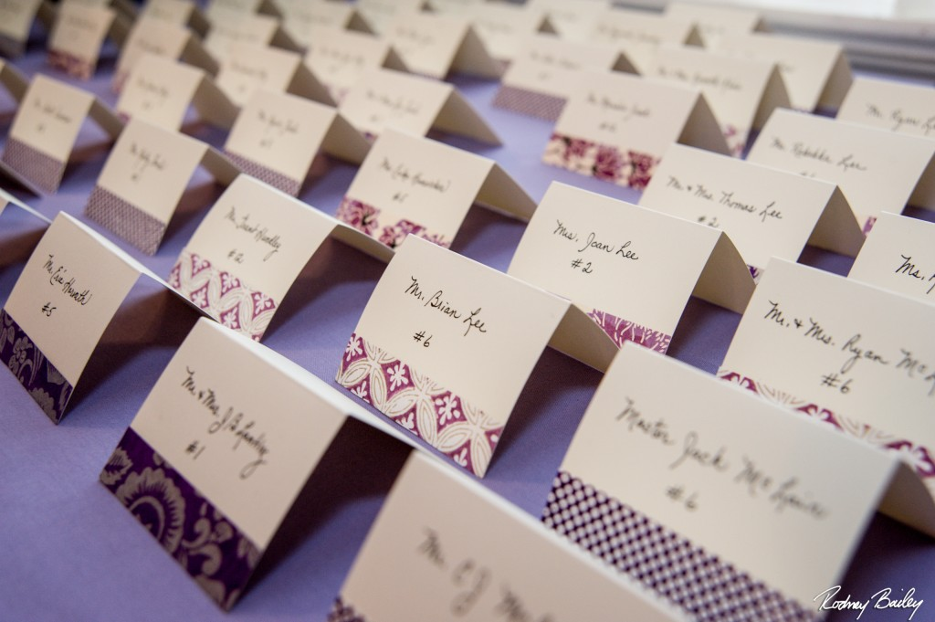 Purple escort cards Wedding Whitehall Manor Bluemont Virginia