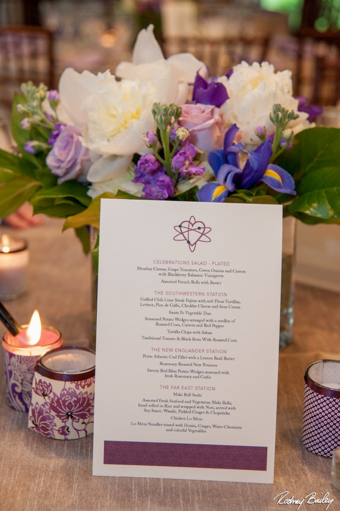 Travel science theme wedding Whitehall Manor Virginia purple spring menu card