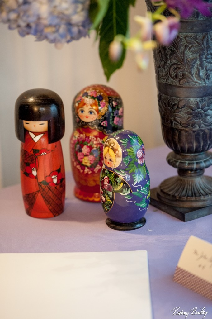 matryoshka dolls wedding decor Whitehall Manor Virginia travel theme purple