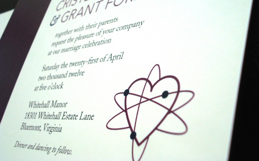 science theme wedding whitehall manor invitations purple virginia