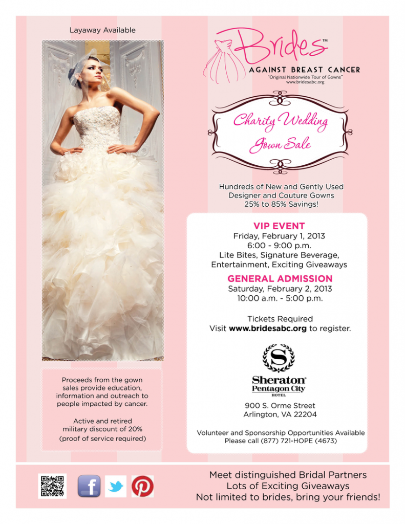 brides againsts breast cancer gown sale arlington va