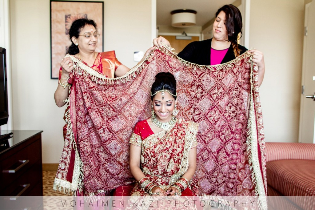 indian wedding bride red gold