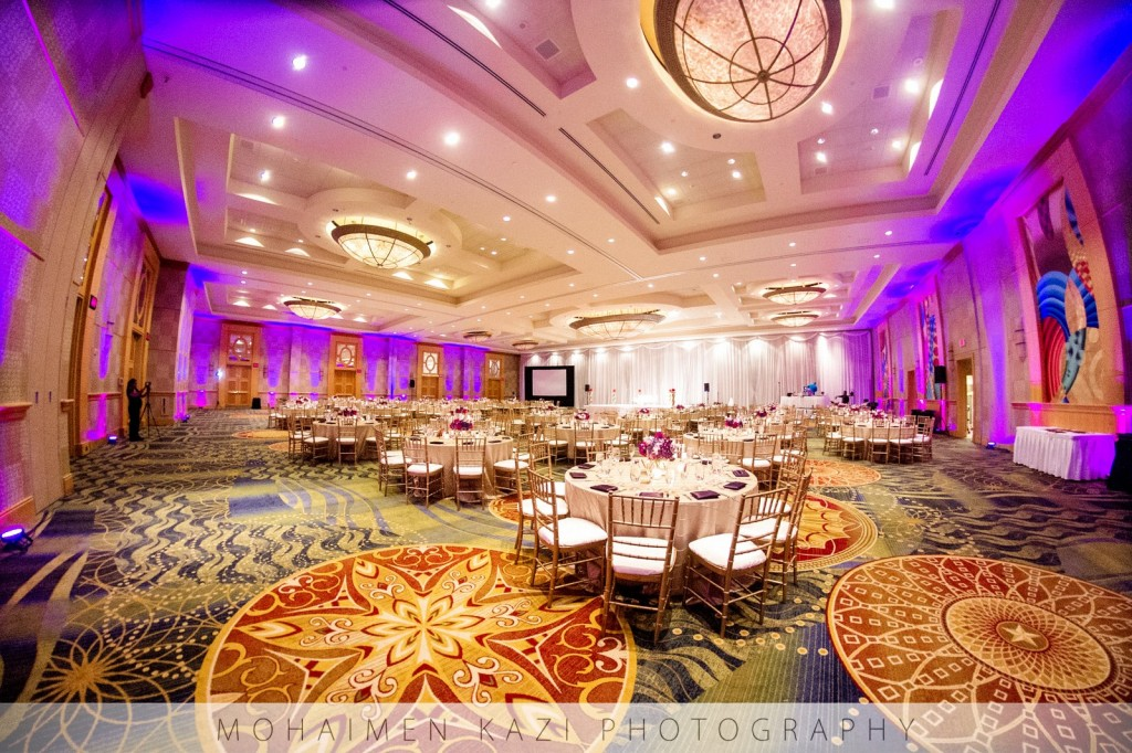 indian wedding marriott bethesda north ballroom purple lighting