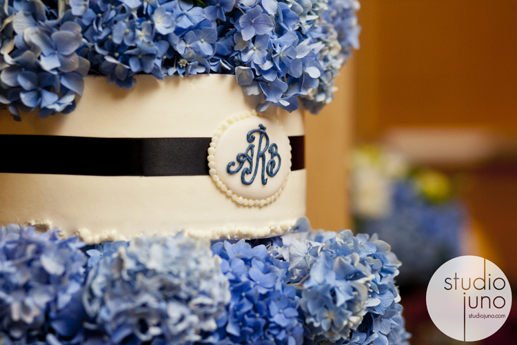 Wedding cake blue preppy monogram