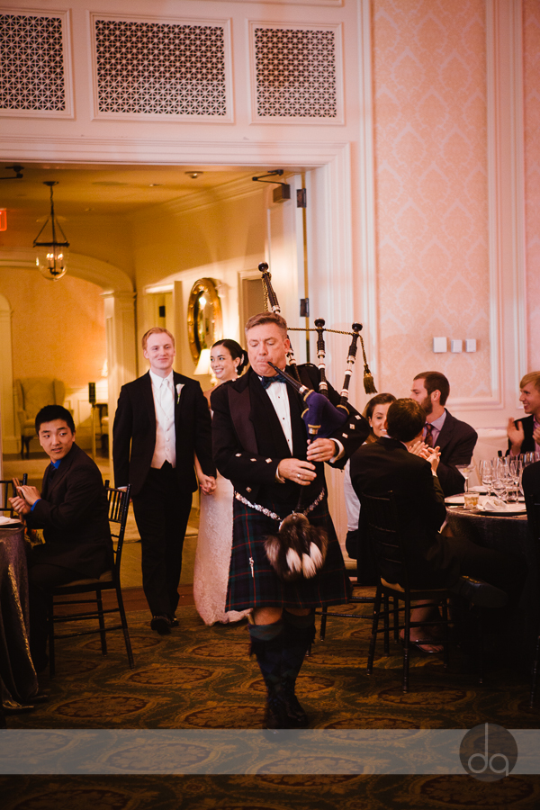 Bagpiper entrance wedding reception Washington DC