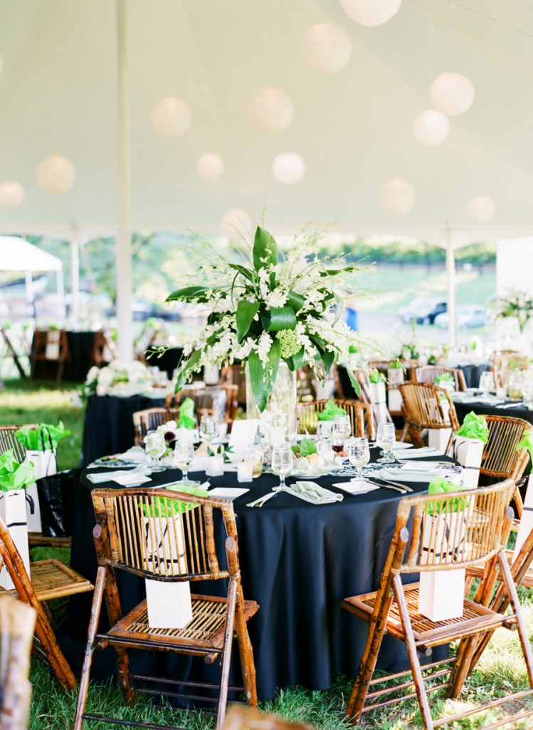 Chrysalis Winery tent wedding black white green
