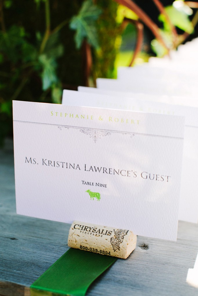chyrsalis winery wedding escort cards cork