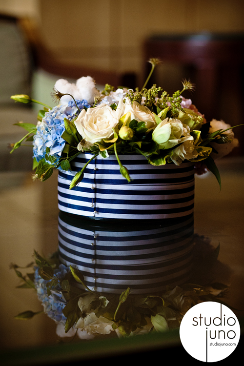 navy blue green wedding preppy centerpiece heavenly hydrangea