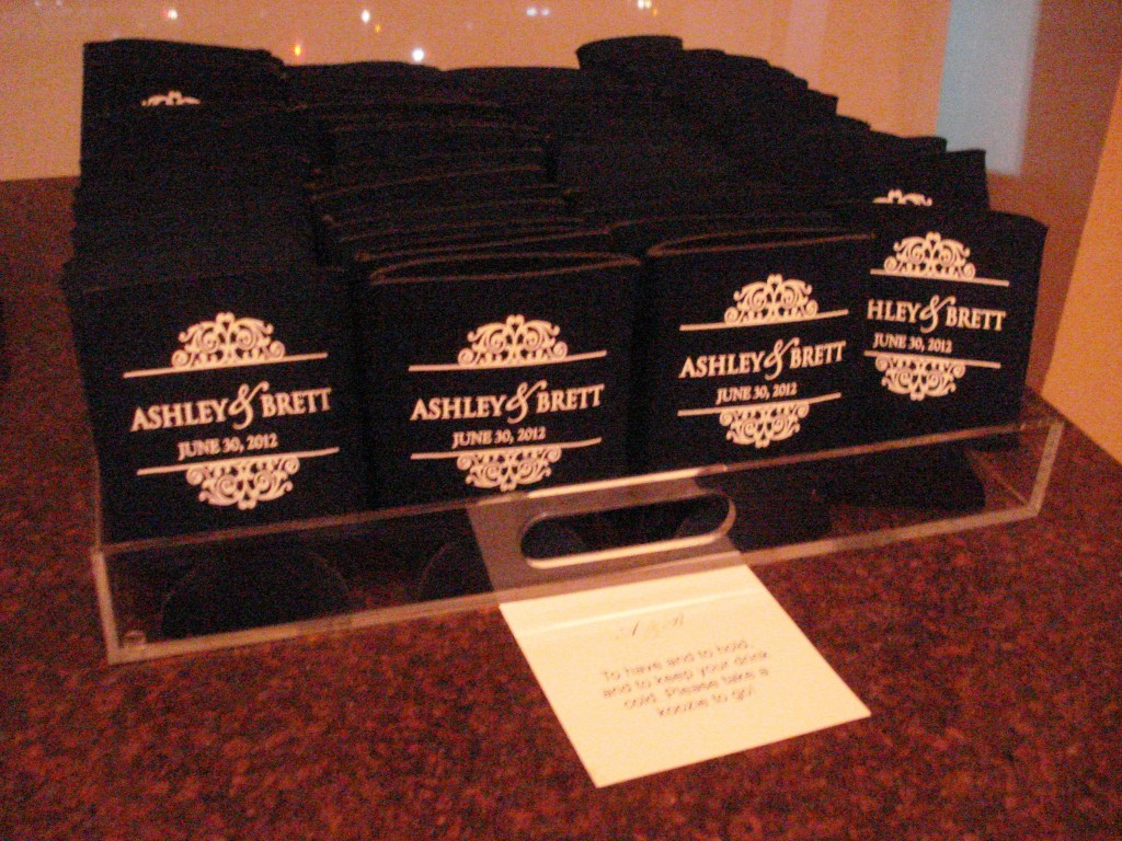 wedding favors koozies navy blue