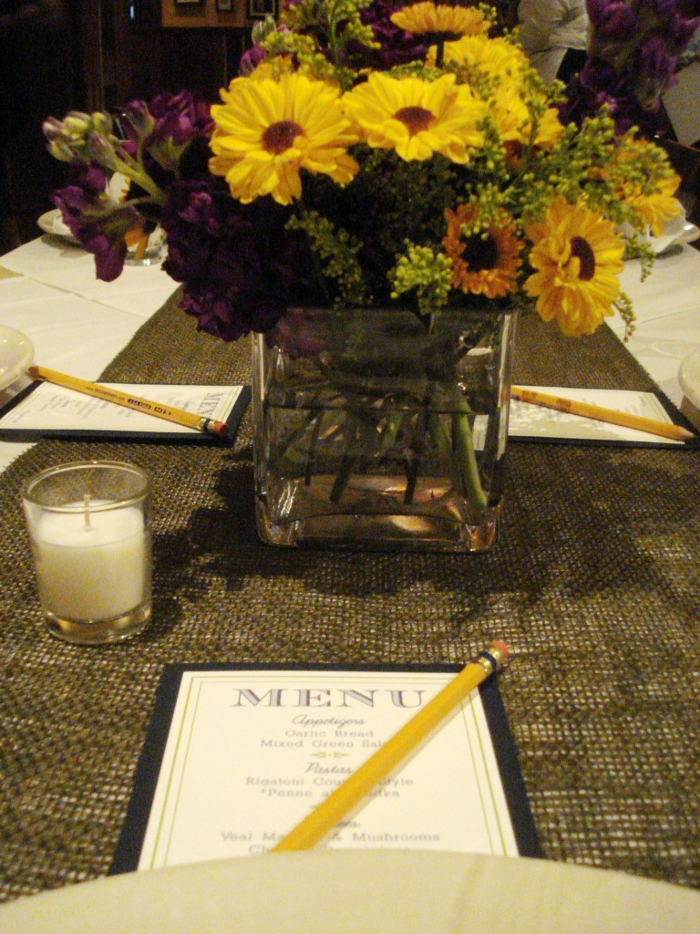 yellow purple flowers petals edge rehearsal dinner