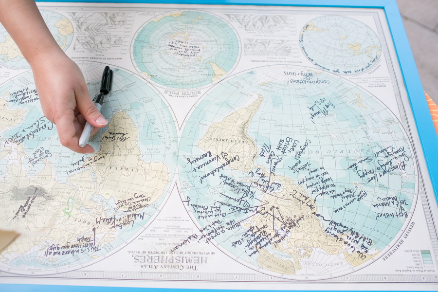 vintage map wedding guestbook