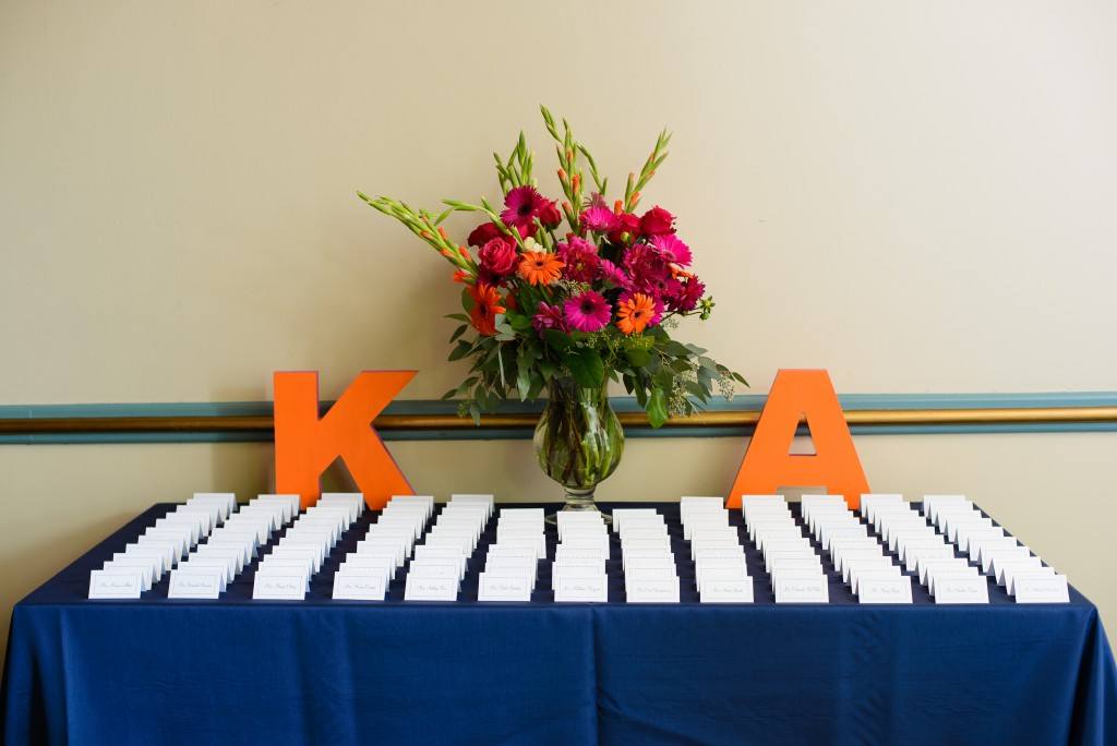 clarendon ballroom wedding navy blue orange pink escort card table