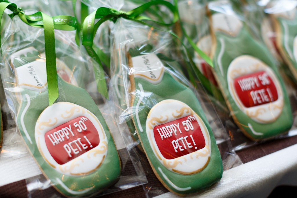 50th birthday favor cookie beer bottle Sugar Pixie Sweets
