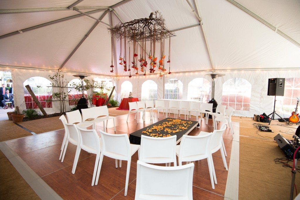Volt Restaurant Wedding En Masse floral design suspended tent
