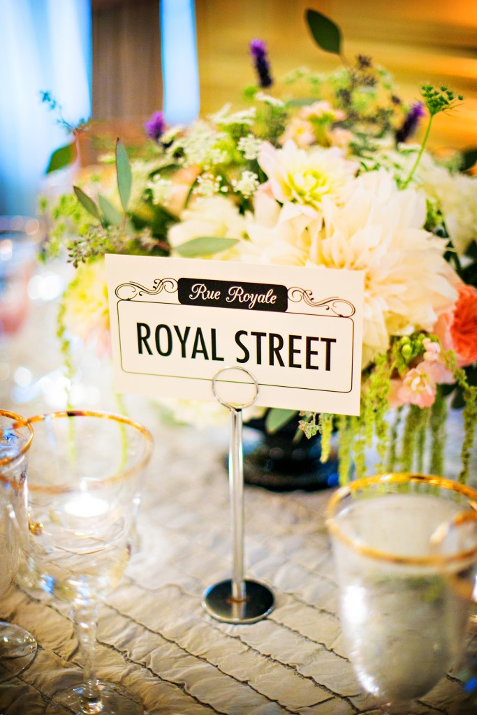 french new orleans inspired wedding table names Little Bird Creative Kurstin Roe Photography