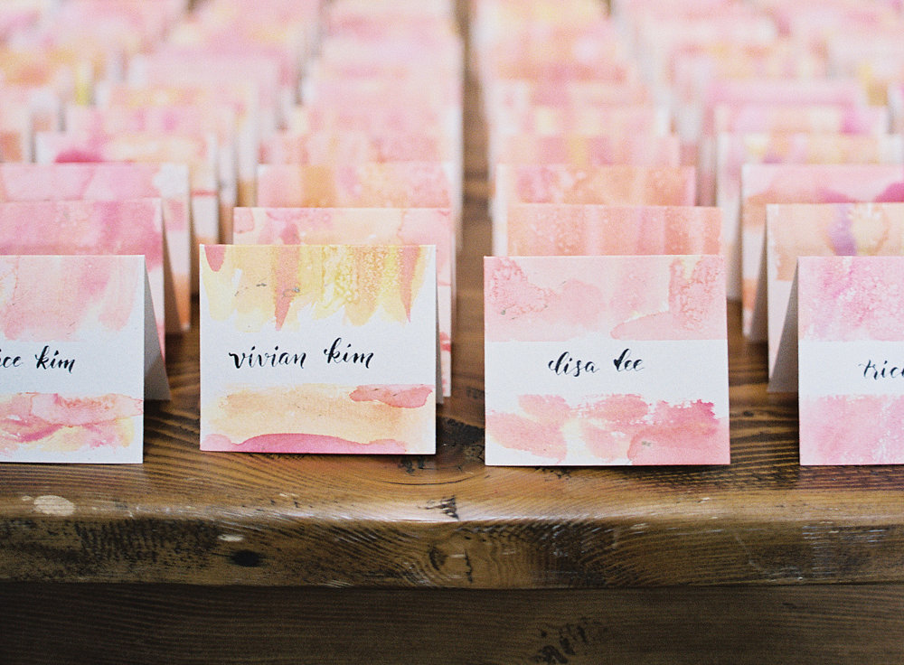 watercolor escort cards Salamander Resort Middleburg wedding