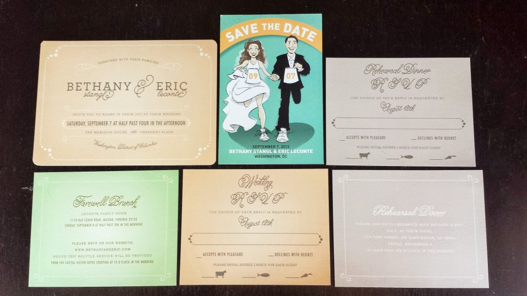 wedding invitations peach mint green romantic
