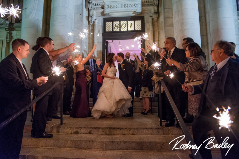Wedding_Carnegie Library_Rodney Bailey_Sparkler Exit