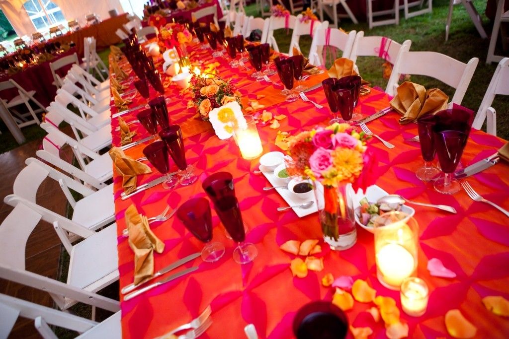 at-home Indian fusion wedding fuchsia orange tablescape