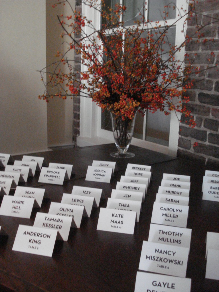 Bittersweet escort card arrangement