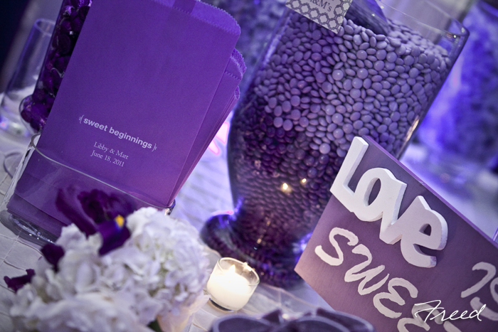 Purple candy table wedding