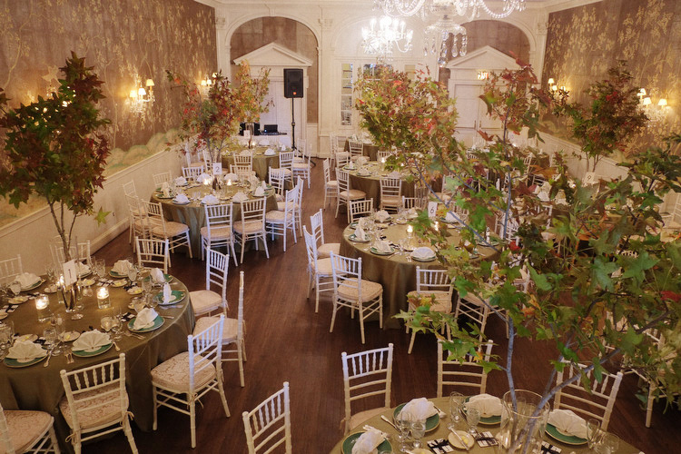 fall leaves and branches tall centerpieces DC wedding Yellow Door Floral Design
