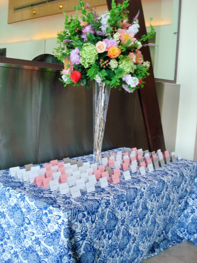 Cascade Floral Sapphire tablecloth DC Rental escort cards