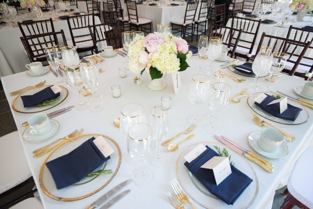 blush white navy gold square tables Washington DC spring wedding