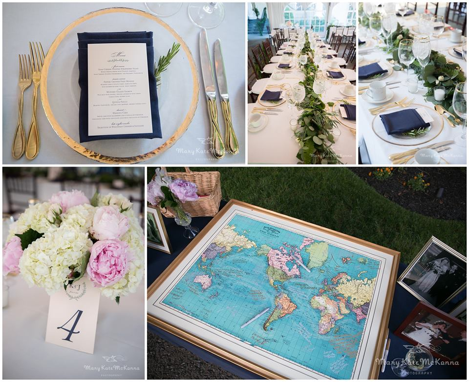 navy gold white blush wedding details