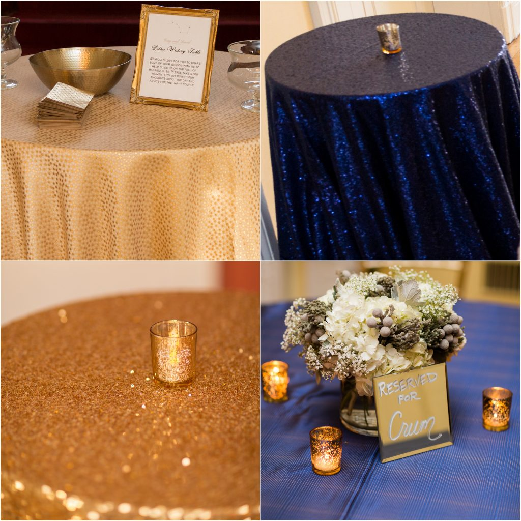 navy sequin gold sequin tablecloth