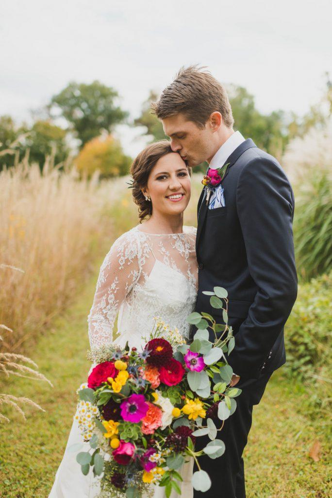 River Farm fall wedding jewel tones asymmetrical bridal bouquet