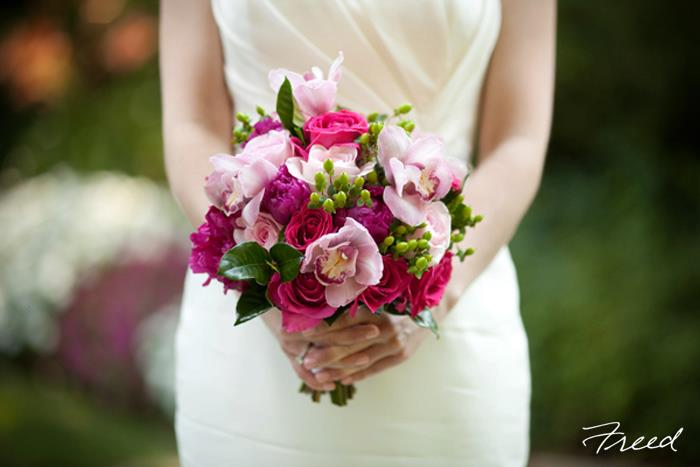 Yellow-Door-Floral-Design-bouquet-raspberry-peonies-pink-roses-blush-roses-variegated-pink-cymbidium-orchid