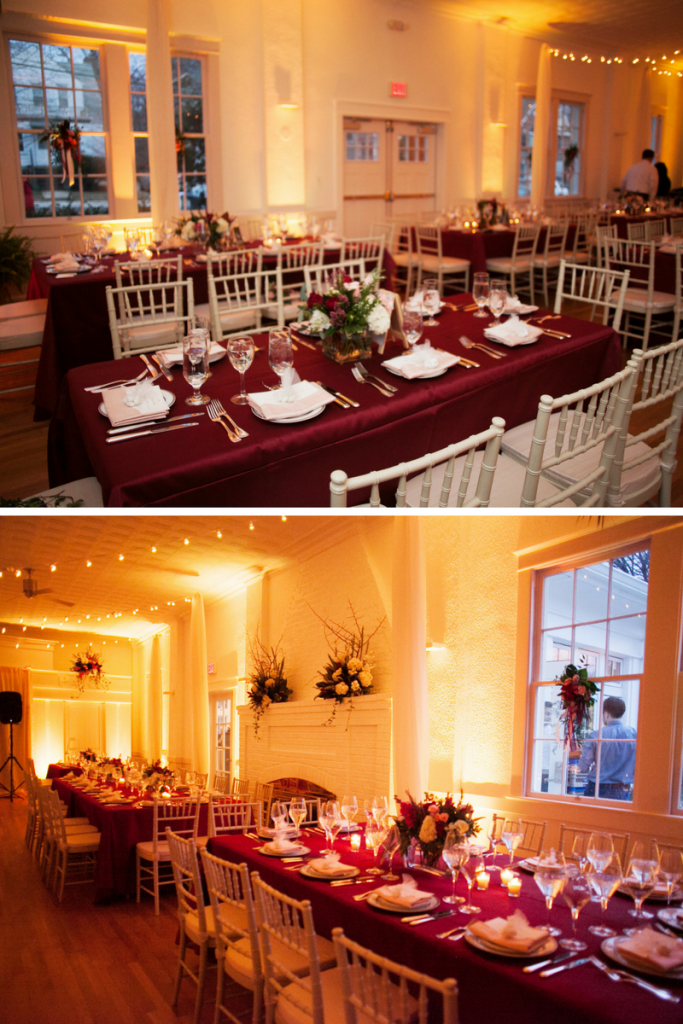Arlington-VA-wedding-winter-burgundy-red-blush-patio-lights