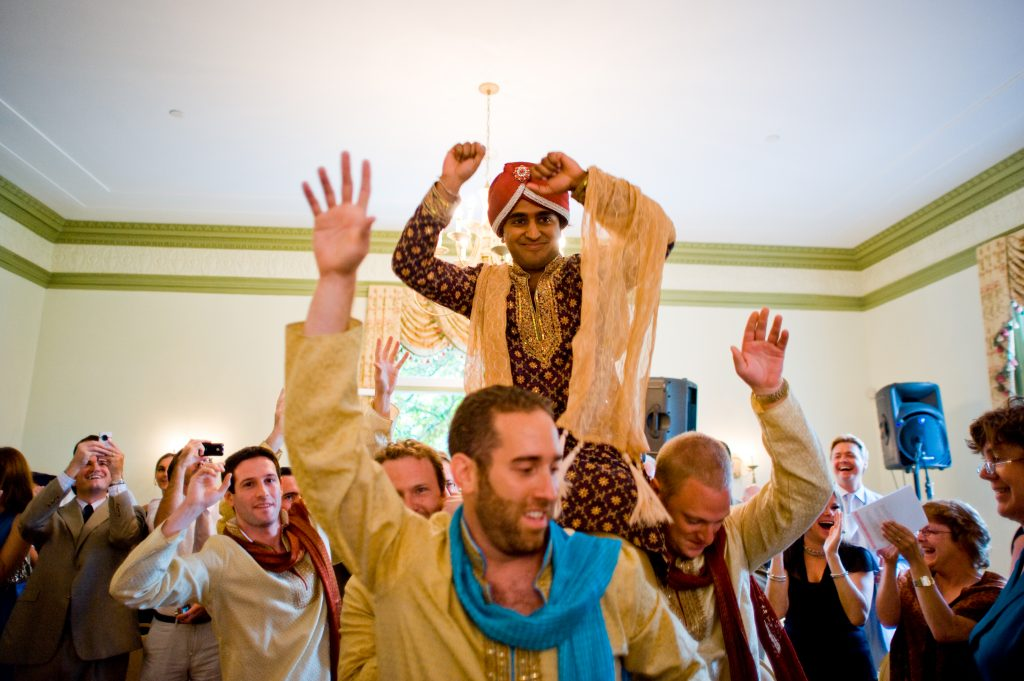 indian-fusion-wedding-ceremony-Oxon-Hill-Manor-baraat