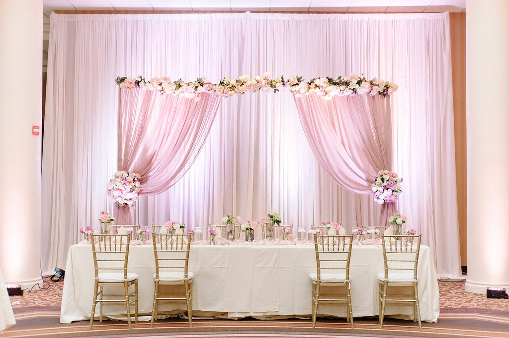 indian-wedding-virginia-sheraton-tysons-hotel-head-table-pink-mauve-ivory
