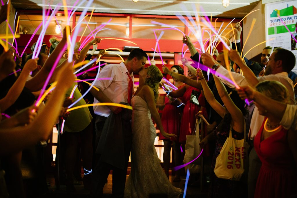 Torpedo-Factory-Alexandria-VA-wedding-glowsticks-exit