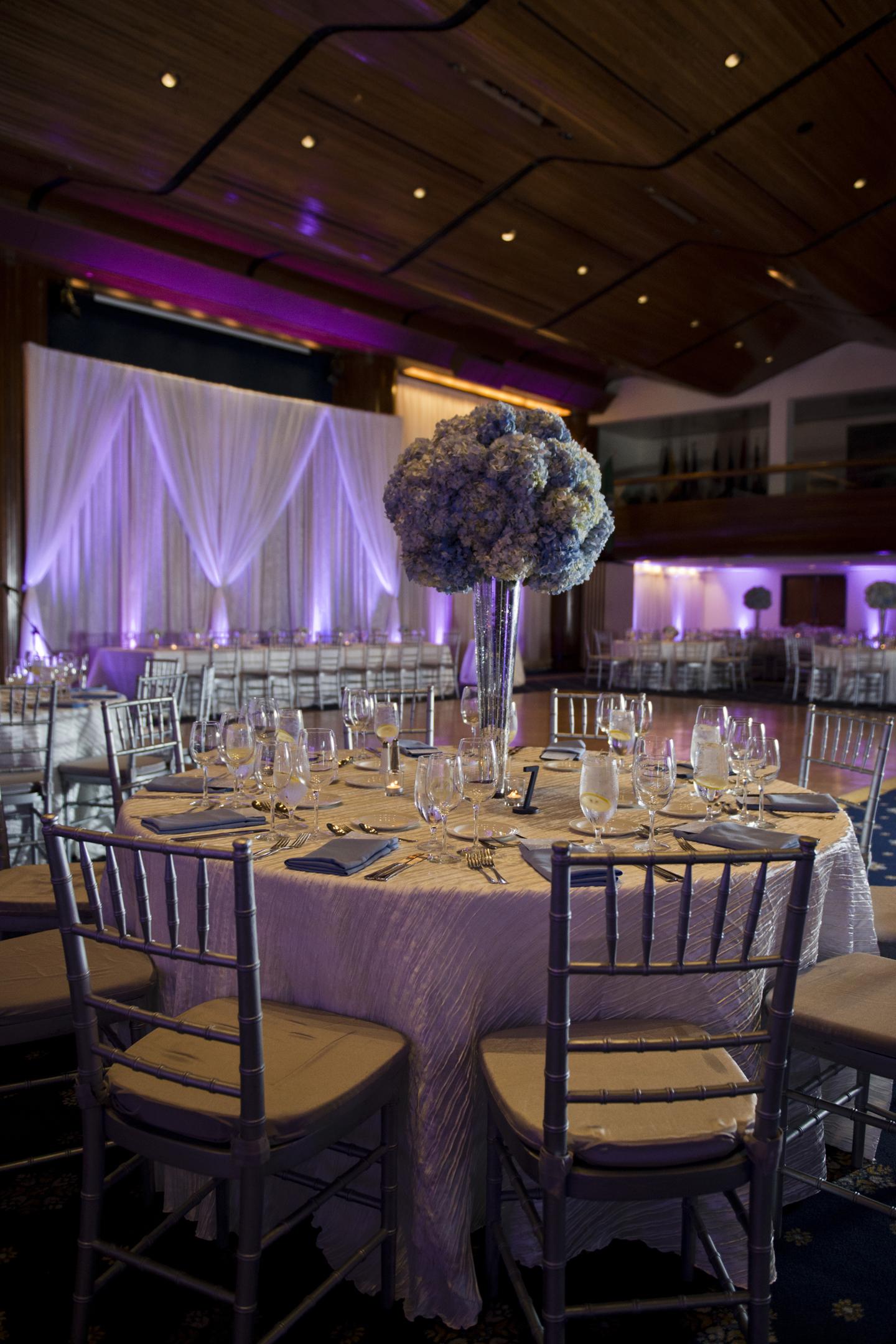 Blue Silver Ivory Tall Centerpiece Wedding Washington Dc